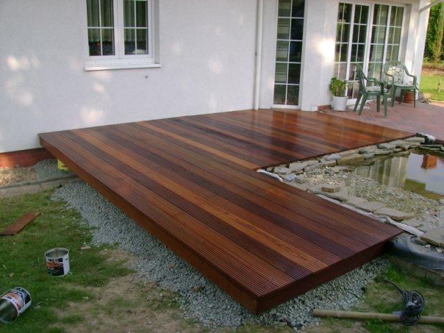Meble Ogrodowe Drewniane Renowacja : Konserwacja tarasu, ułożenie kratownicy, słupy punktowe i montaż