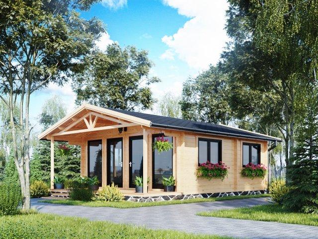 Domek drewniany parterowy z dużymi oknami Pola