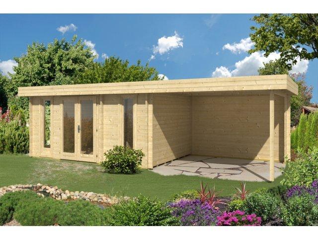 Drewniany domek z płaskim dachem Olek 13,5+9 m2