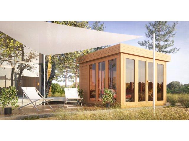 nowoczesna sauna w kształcie domku