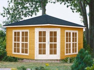 Drewniane domki pięciokątne